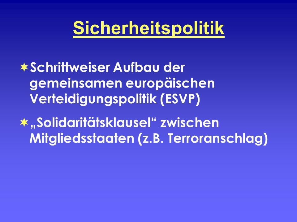 Sicherheitspolitik Schrittweiser Aufbau der gemeinsamen europäischen Verteidigungspolitik (ESVP) Solidaritätsklausel zwischen Mitgliedsstaaten (z.B. T