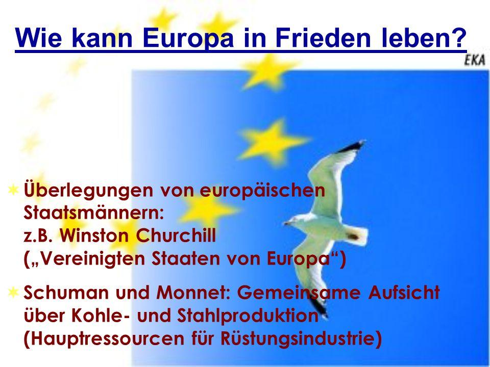 Wie kann Europa in Frieden leben? Überlegungen von europäischen Staatsmännern: z.B. Winston Churchill (Vereinigten Staaten von Europa) Schuman und Mon