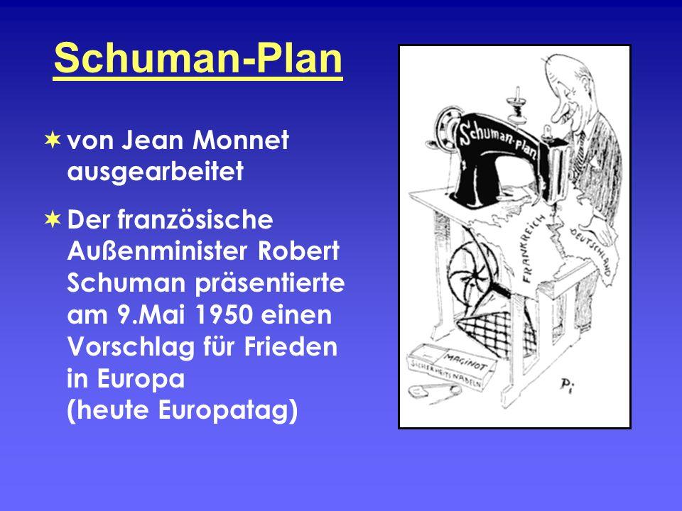 Schuman-Plan von Jean Monnet ausgearbeitet Der französische Außenminister Robert Schuman präsentierte am 9.Mai 1950 einen Vorschlag für Frieden in Eur