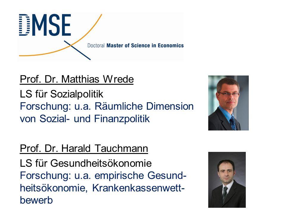 Prof. Dr. Matthias Wrede LS für Sozialpolitik Forschung: u.a. Räumliche Dimension von Sozial- und Finanzpolitik Prof. Dr. Harald Tauchmann LS für Gesu