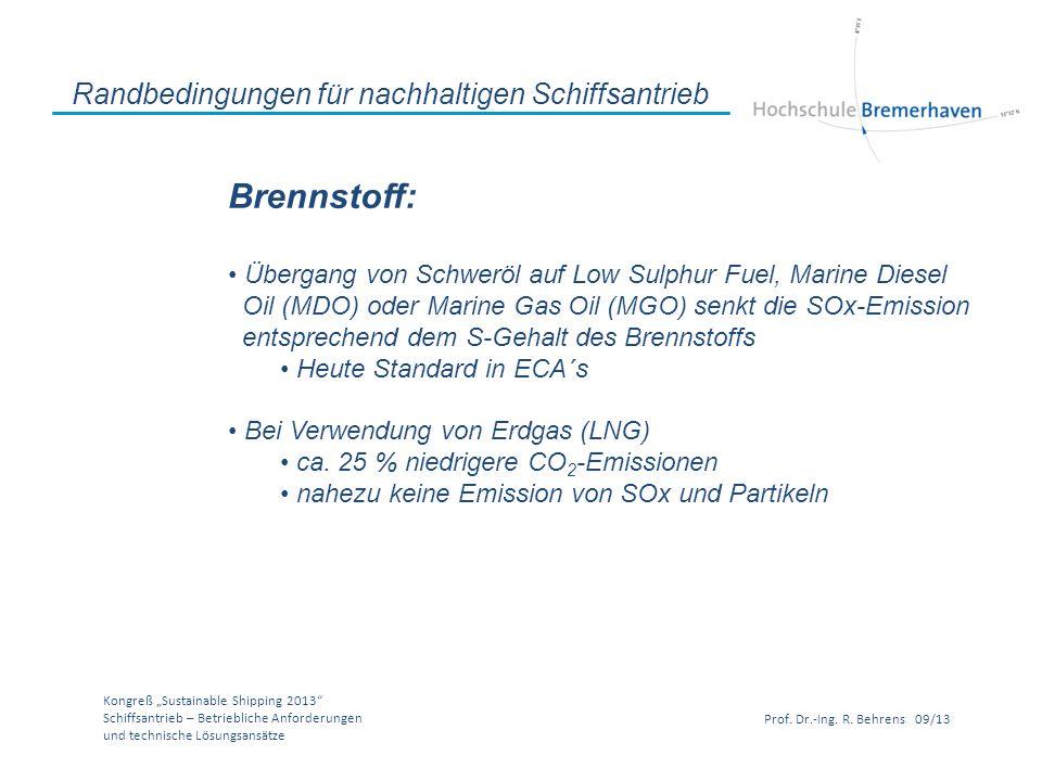 Kongreß Sustainable Shipping 2013 Schiffsantrieb – Betriebliche Anforderungen und technische Lösungsansätze Prof. Dr.-Ing. R. Behrens 09/13 Randbeding