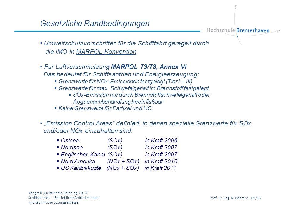 Kongreß Sustainable Shipping 2013 Schiffsantrieb – Betriebliche Anforderungen und technische Lösungsansätze Prof. Dr.-Ing. R. Behrens 09/13 Gesetzlich