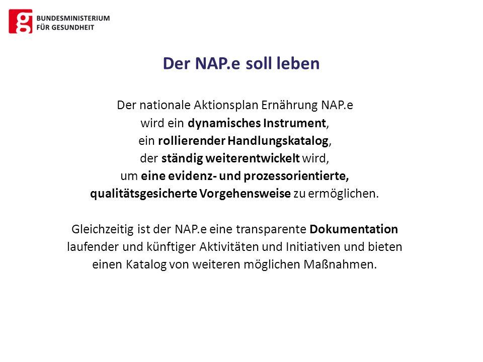 Der nationale Aktionsplan Ernährung NAP.e wird ein dynamisches Instrument, ein rollierender Handlungskatalog, der ständig weiterentwickelt wird, um ei