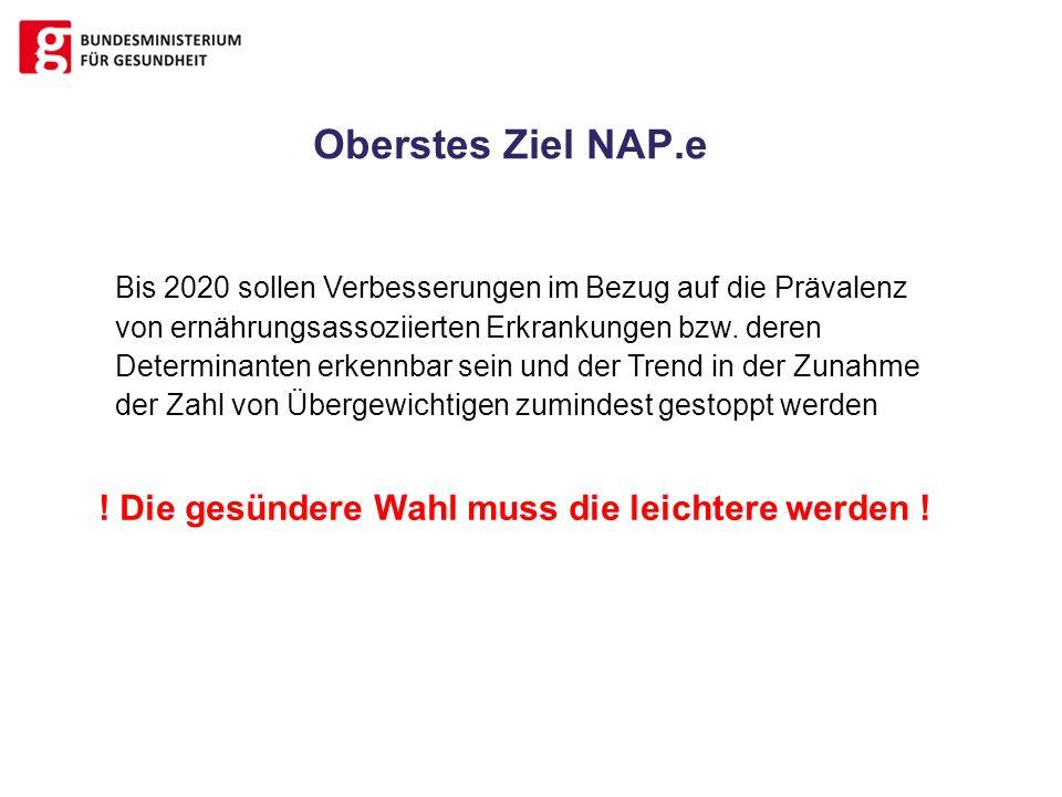 Oberstes Ziel NAP.e Bis 2020 sollen Verbesserungen im Bezug auf die Prävalenz von ernährungsassoziierten Erkrankungen bzw. deren Determinanten erkennb