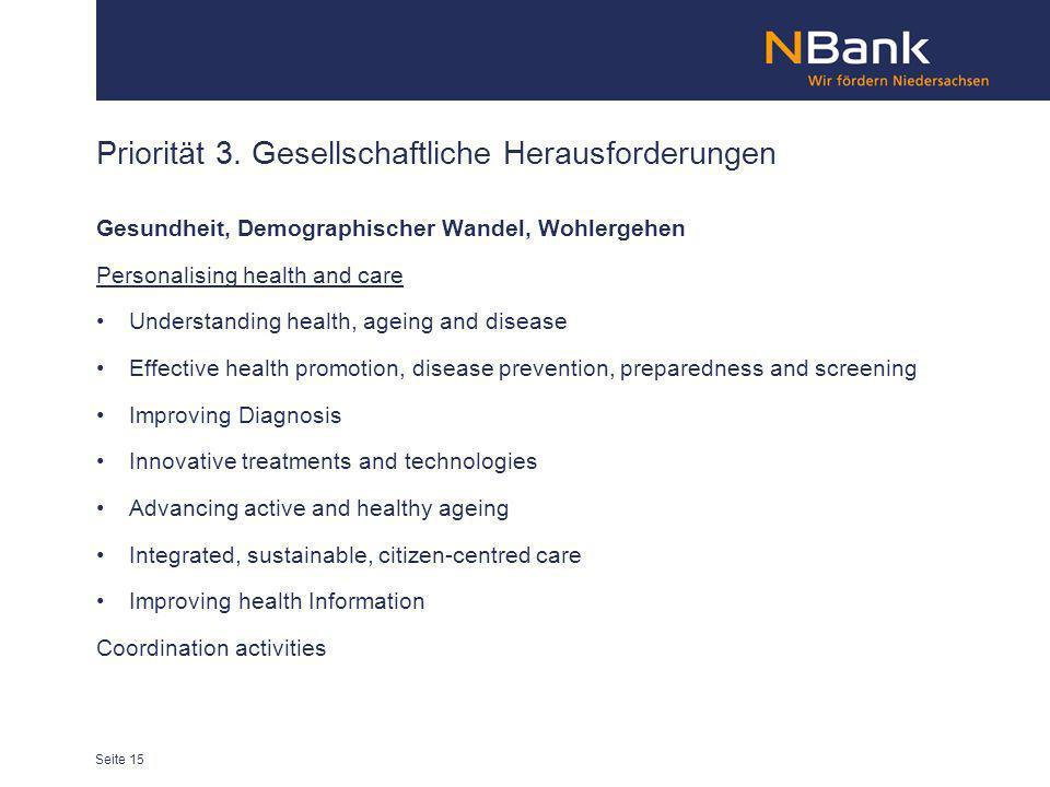 Priorität 3. Gesellschaftliche Herausforderungen Gesundheit, Demographischer Wandel, Wohlergehen Personalising health and care Understanding health, a