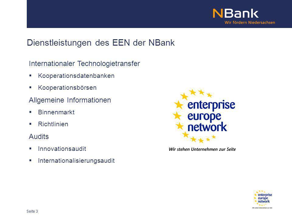 Dienstleistungen des EEN der NBank Internationaler Technologietransfer Kooperationsdatenbanken Kooperationsbörsen Allgemeine Informationen Binnenmarkt