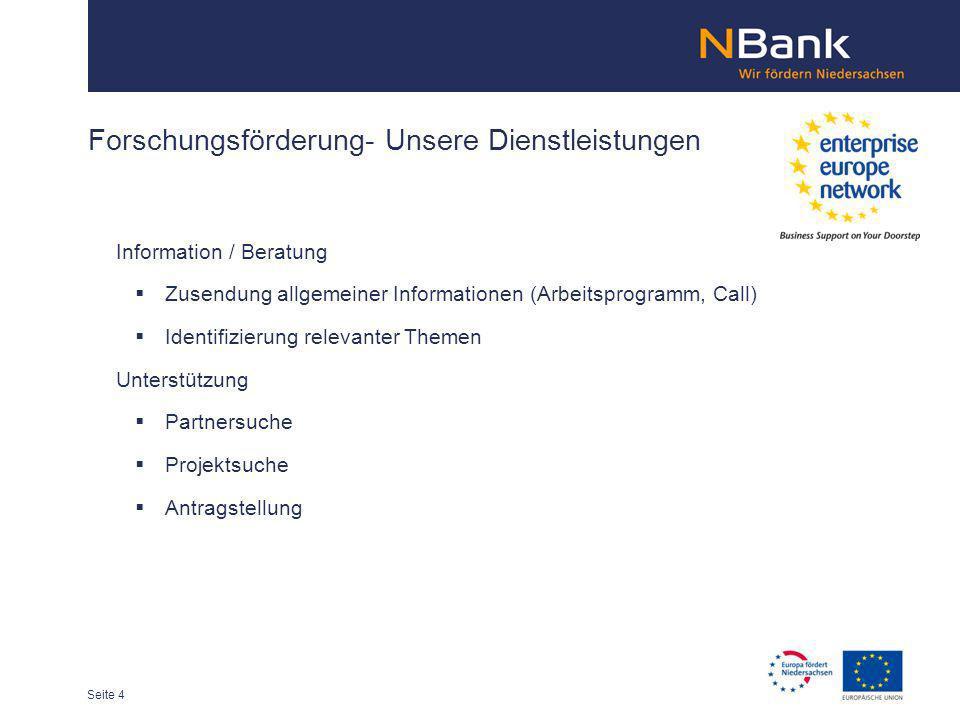Forschungsförderung- Unsere Dienstleistungen Information / Beratung Zusendung allgemeiner Informationen (Arbeitsprogramm, Call) Identifizierung releva