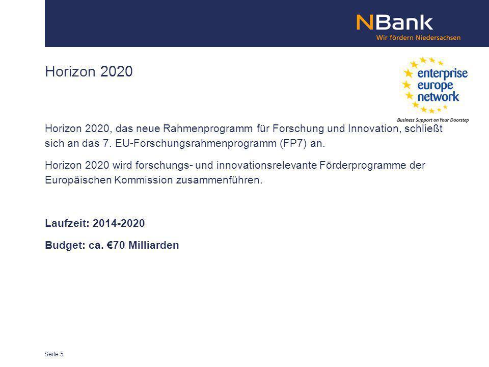 Horizon 2020 Horizon 2020, das neue Rahmenprogramm für Forschung und Innovation, schließt sich an das 7. EU-Forschungsrahmenprogramm (FP7) an. Horizon