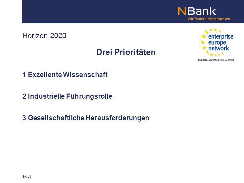 Horizon 2020 Drei Prioritäten 1 Exzellente Wissenschaft 2 Industrielle Führungsrolle 3 Gesellschaftliche Herausforderungen Seite 8