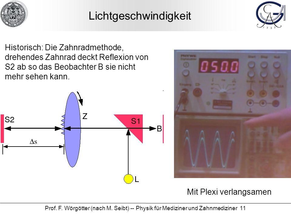 Prof. F. Wörgötter (nach M. Seibt) -- Physik für Mediziner und Zahnmediziner 11 Lichtgeschwindigkeit Historisch: Die Zahnradmethode, drehendes Zahnrad
