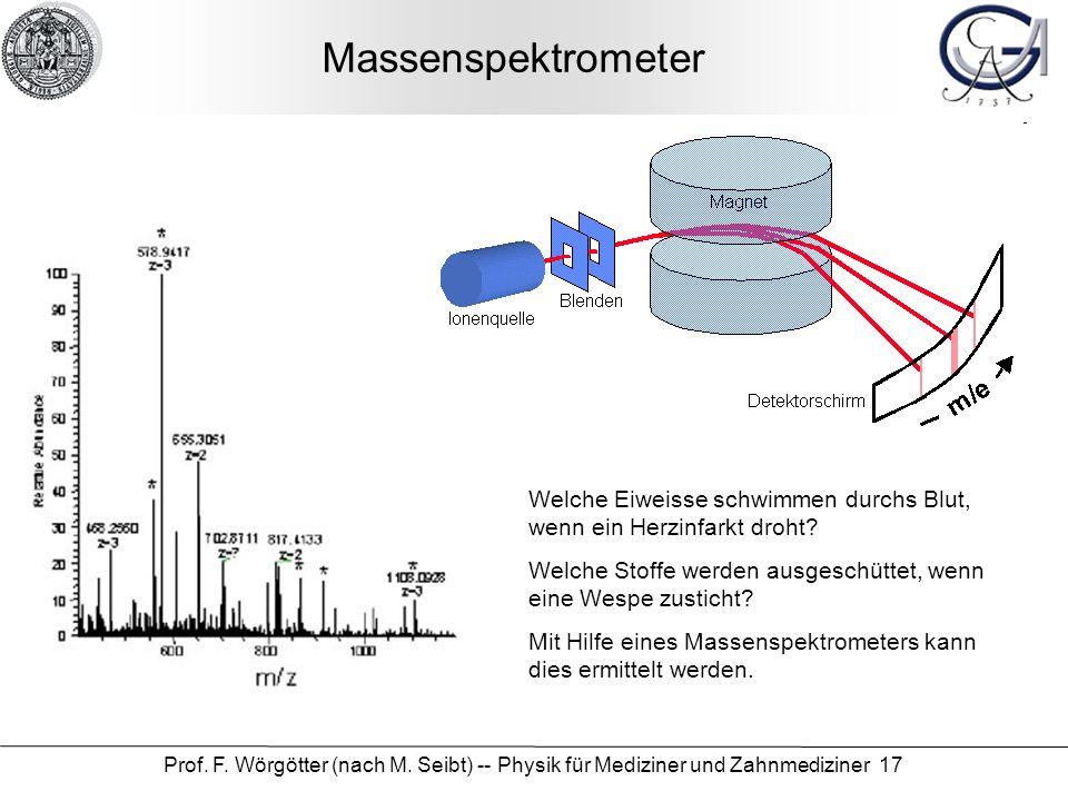 Prof. F. Wörgötter (nach M. Seibt) -- Physik für Mediziner und Zahnmediziner 17 Massenspektrometer Welche Eiweisse schwimmen durchs Blut, wenn ein Her