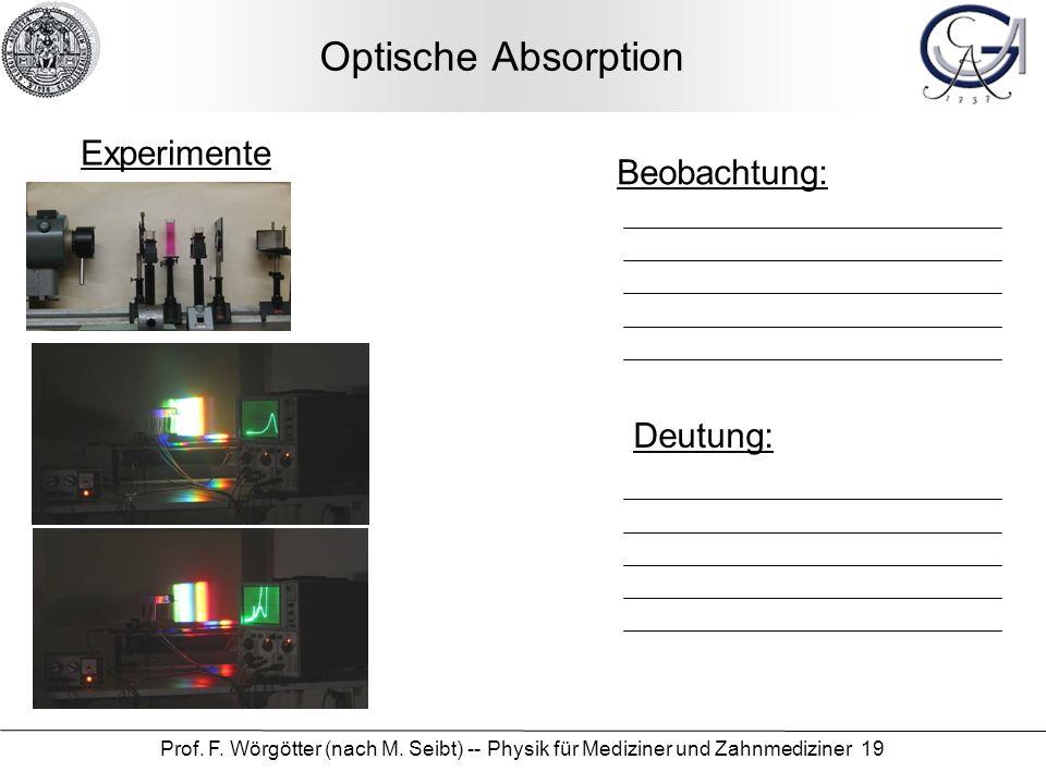 Prof. F. Wörgötter (nach M. Seibt) -- Physik für Mediziner und Zahnmediziner 19 Optische Absorption Beobachtung: Deutung: Experimente