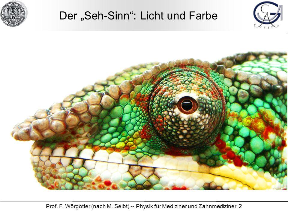 Prof. F. Wörgötter (nach M. Seibt) -- Physik für Mediziner und Zahnmediziner 2 Der Seh-Sinn: Licht und Farbe