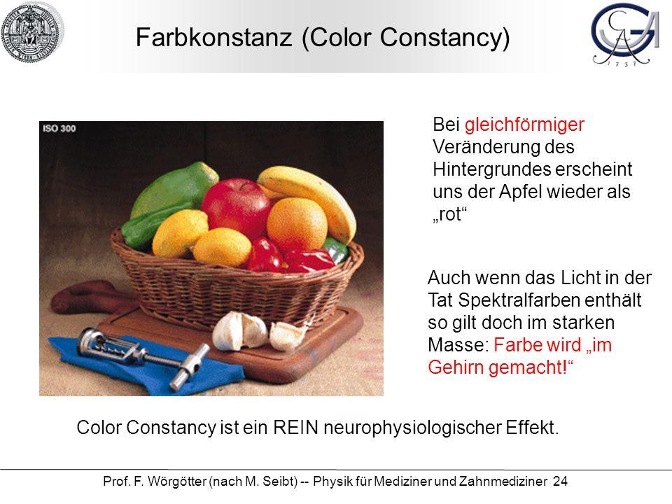 Prof. F. Wörgötter (nach M. Seibt) -- Physik für Mediziner und Zahnmediziner 24 Farbkonstanz (Color Constancy) Bei gleichförmiger Veränderung des Hint
