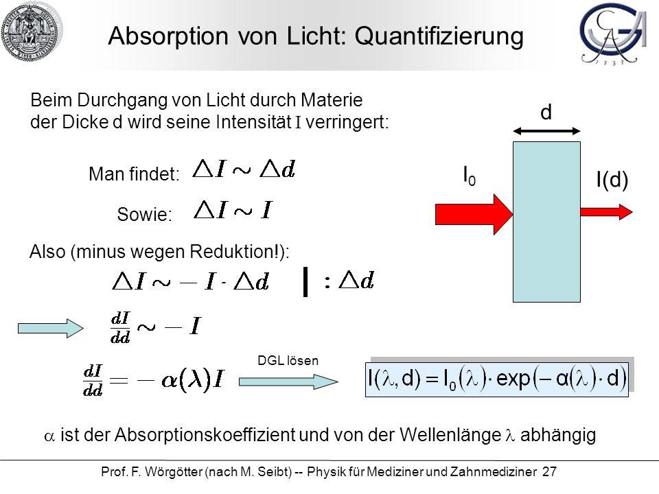 Prof. F. Wörgötter (nach M. Seibt) -- Physik für Mediziner und Zahnmediziner 27 Absorption von Licht: Quantifizierung Beim Durchgang von Licht durch M