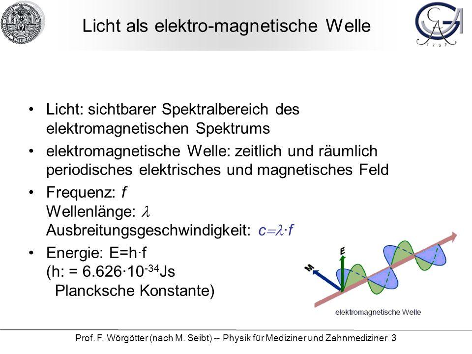 Prof. F. Wörgötter (nach M. Seibt) -- Physik für Mediziner und Zahnmediziner 3 Licht als elektro-magnetische Welle Licht: sichtbarer Spektralbereich d