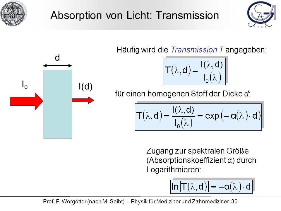 Prof. F. Wörgötter (nach M. Seibt) -- Physik für Mediziner und Zahnmediziner 30 Absorption von Licht: Transmission d I0I0 I(d) Häufig wird die Transmi