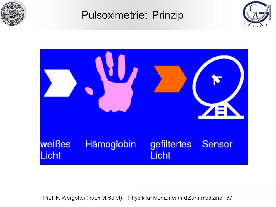Prof. F. Wörgötter (nach M.Seibt) -- Physik für Mediziner und Zahnmediziner 37 Pulsoximetrie: Prinzip