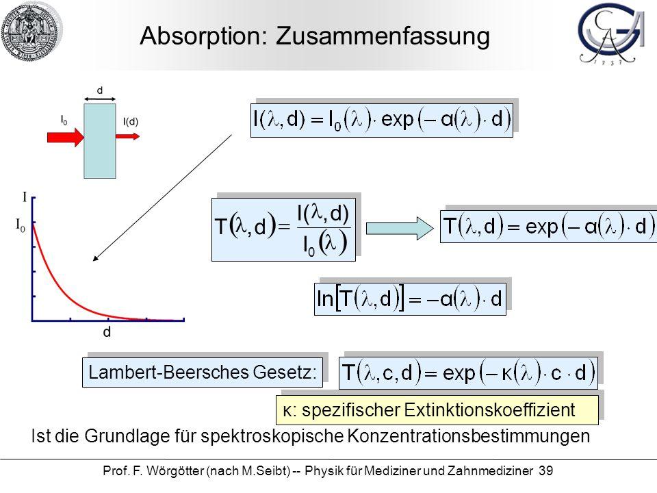 Prof. F. Wörgötter (nach M.Seibt) -- Physik für Mediziner und Zahnmediziner 39 Absorption: Zusammenfassung Lambert-Beersches Gesetz: Ist die Grundlage