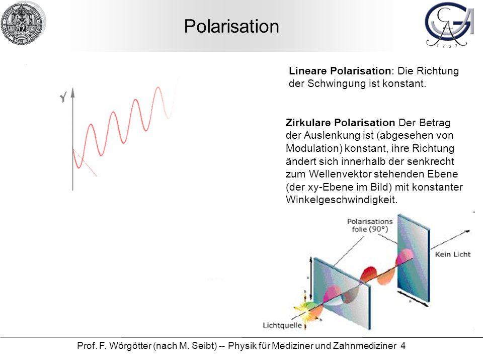 Prof. F. Wörgötter (nach M. Seibt) -- Physik für Mediziner und Zahnmediziner 4 Polarisation Lineare Polarisation: Die Richtung der Schwingung ist kons