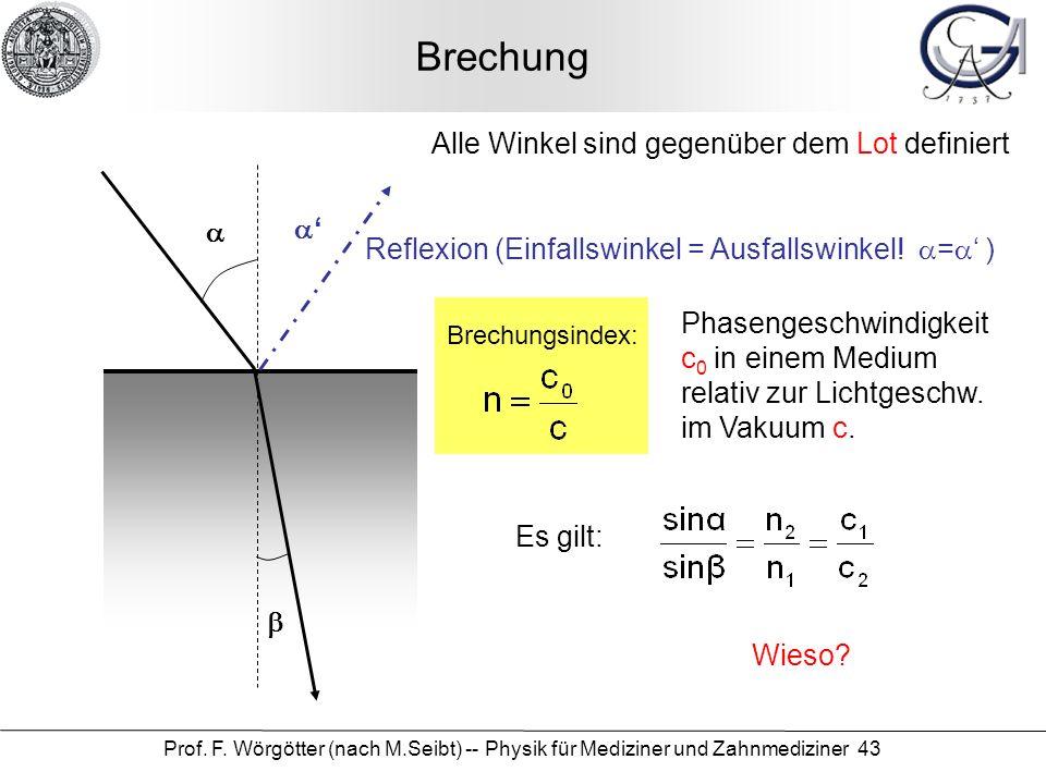 Prof. F. Wörgötter (nach M.Seibt) -- Physik für Mediziner und Zahnmediziner 43 Brechung Alle Winkel sind gegenüber dem Lot definiert Reflexion (Einfal