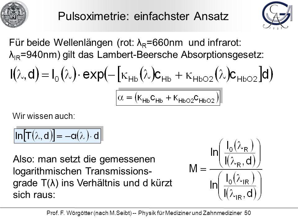 Prof. F. Wörgötter (nach M.Seibt) -- Physik für Mediziner und Zahnmediziner 50 Pulsoximetrie: einfachster Ansatz Für beide Wellenlängen (rot: λ R =660