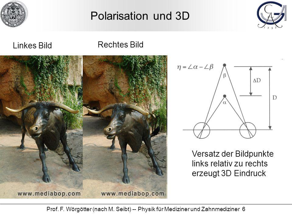 Prof. F. Wörgötter (nach M. Seibt) -- Physik für Mediziner und Zahnmediziner 6 Polarisation und 3D Linkes Bild Rechtes Bild Versatz der Bildpunkte lin