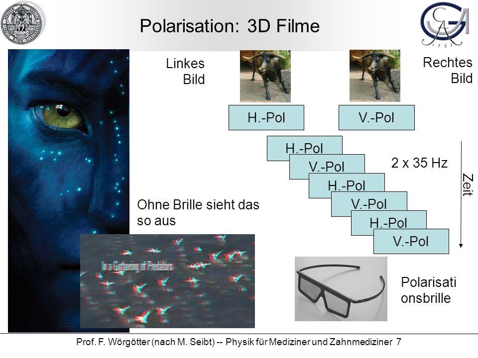 Prof. F. Wörgötter (nach M. Seibt) -- Physik für Mediziner und Zahnmediziner 7 Polarisation: 3D Filme Polarisati onsbrille Ohne Brille sieht das so au