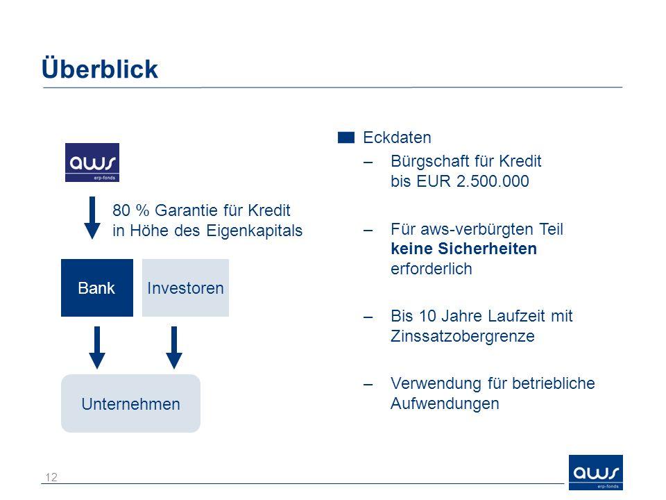 Überblick 12 Eckdaten –Bürgschaft für Kredit bis EUR 2.500.000 –Für aws-verbürgten Teil keine Sicherheiten erforderlich –Bis 10 Jahre Laufzeit mit Zinssatzobergrenze –Verwendung für betriebliche Aufwendungen Unternehmen 80 % Garantie für Kredit in Höhe des Eigenkapitals InvestorenBank