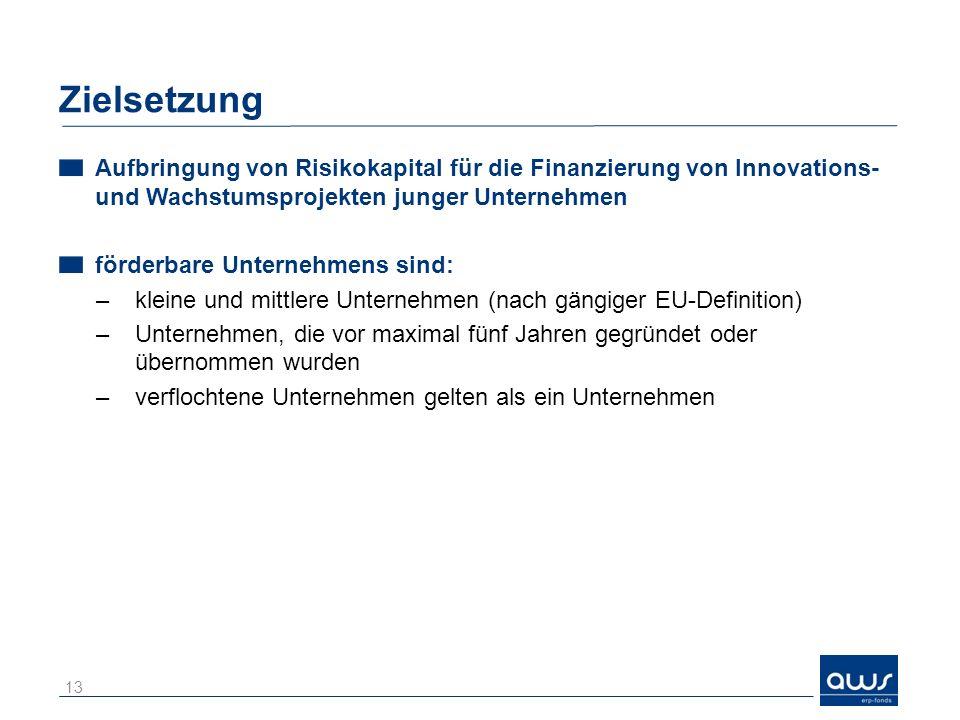 Zielsetzung Aufbringung von Risikokapital für die Finanzierung von Innovations- und Wachstumsprojekten junger Unternehmen förderbare Unternehmens sind: –kleine und mittlere Unternehmen (nach gängiger EU-Definition) –Unternehmen, die vor maximal fünf Jahren gegründet oder übernommen wurden –verflochtene Unternehmen gelten als ein Unternehmen 13