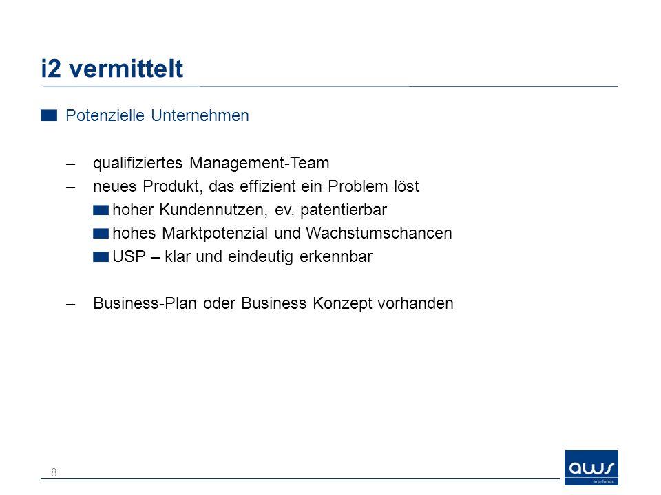 i2 vermittelt Potenzielle Unternehmen –qualifiziertes Management-Team –neues Produkt, das effizient ein Problem löst hoher Kundennutzen, ev.
