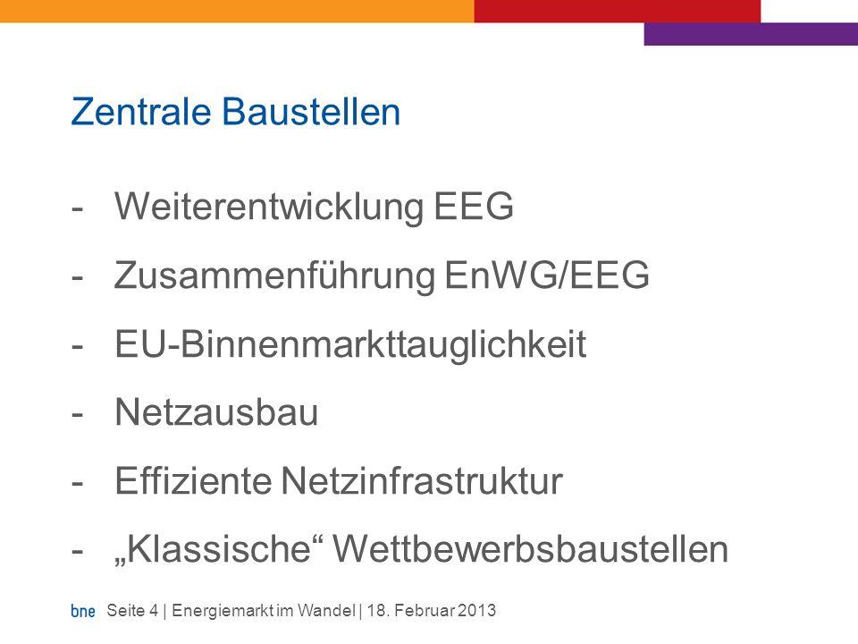 Zentrale Baustellen -Weiterentwicklung EEG -Zusammenführung EnWG/EEG -EU-Binnenmarkttauglichkeit -Netzausbau -Effiziente Netzinfrastruktur -Klassische