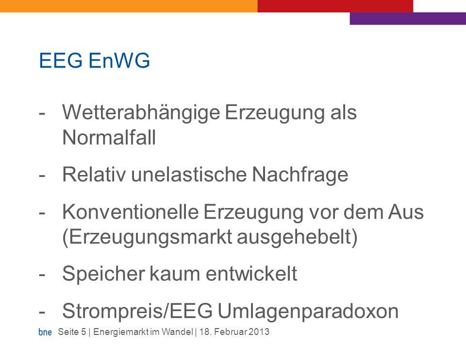 EEG EnWG -Wetterabhängige Erzeugung als Normalfall -Relativ unelastische Nachfrage -Konventionelle Erzeugung vor dem Aus (Erzeugungsmarkt ausgehebelt)