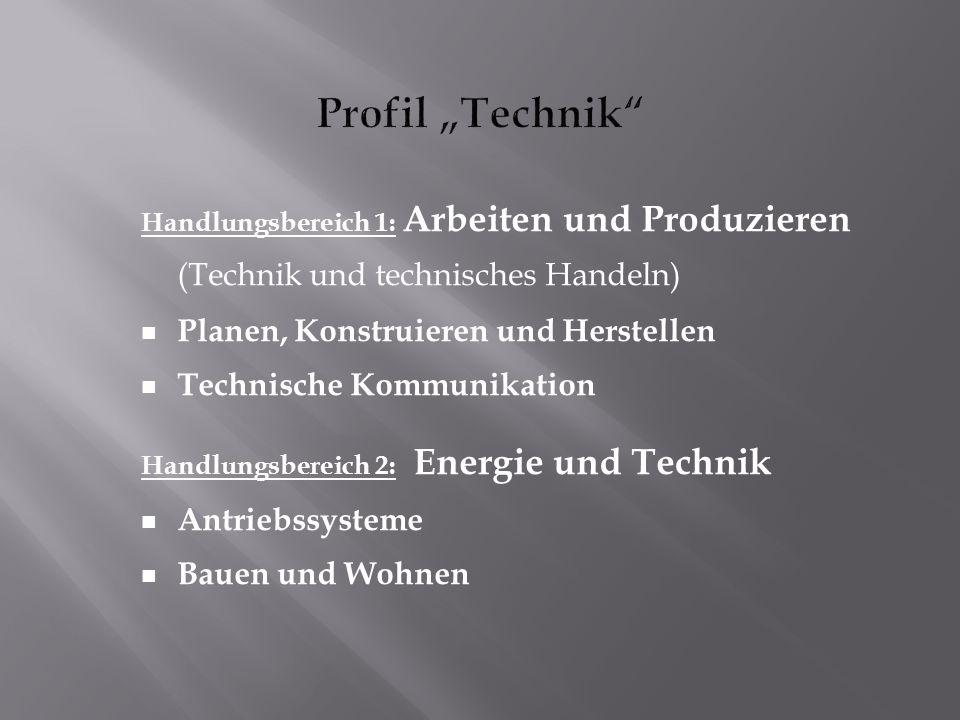 Handlungsbereich 1: Arbeiten und Produzieren (Technik und technisches Handeln) Planen, Konstruieren und Herstellen Technische Kommunikation Handlungsbereich 2: Energie und Technik Antriebssysteme Bauen und Wohnen