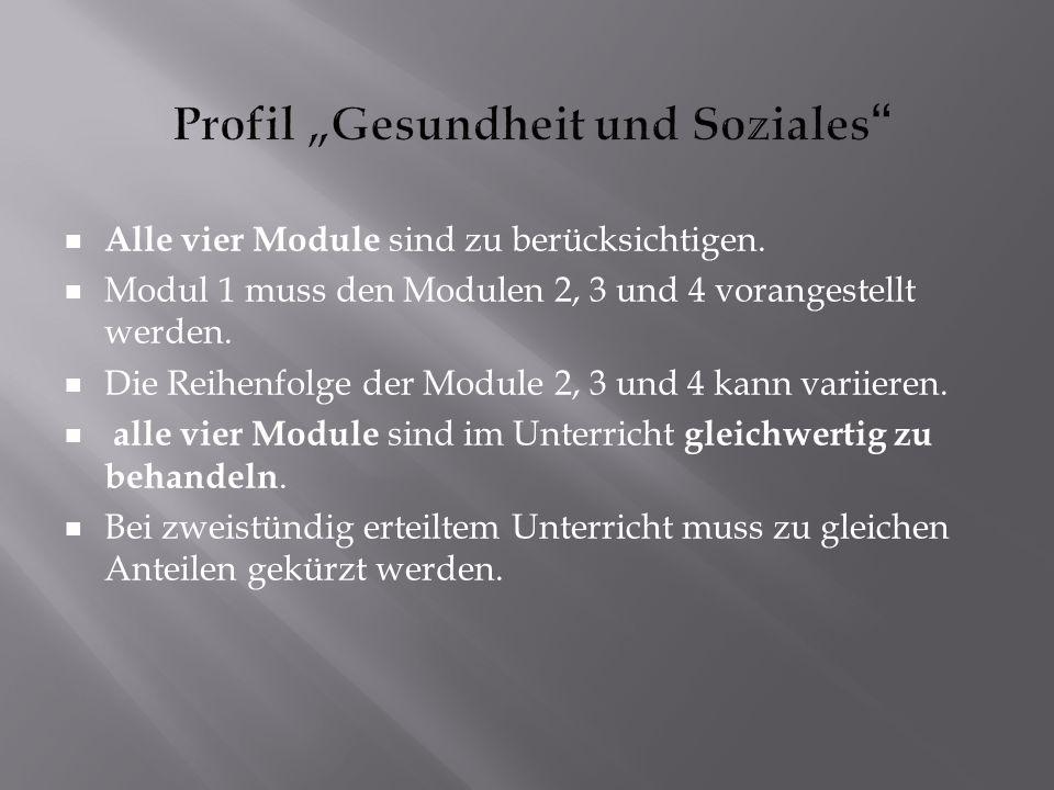 Alle vier Module sind zu berücksichtigen.Modul 1 muss den Modulen 2, 3 und 4 vorangestellt werden.