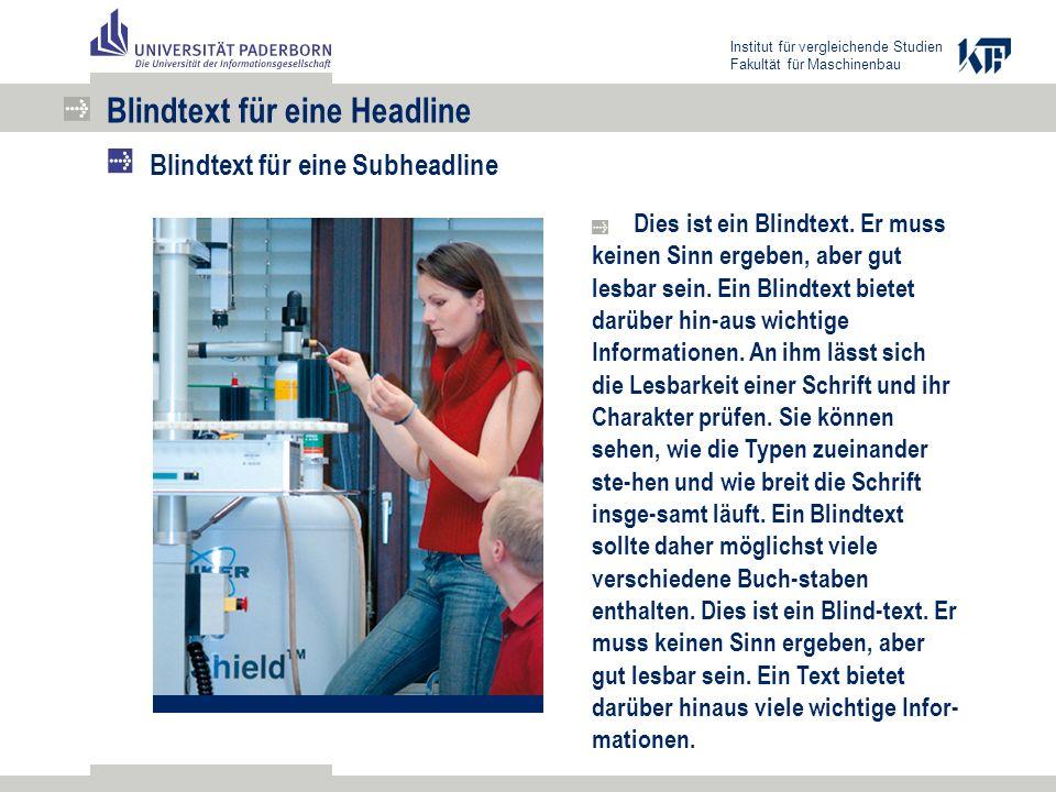 Institut für vergleichende Studien Fakultät für Maschinenbau Dies ist ein Blindtext.