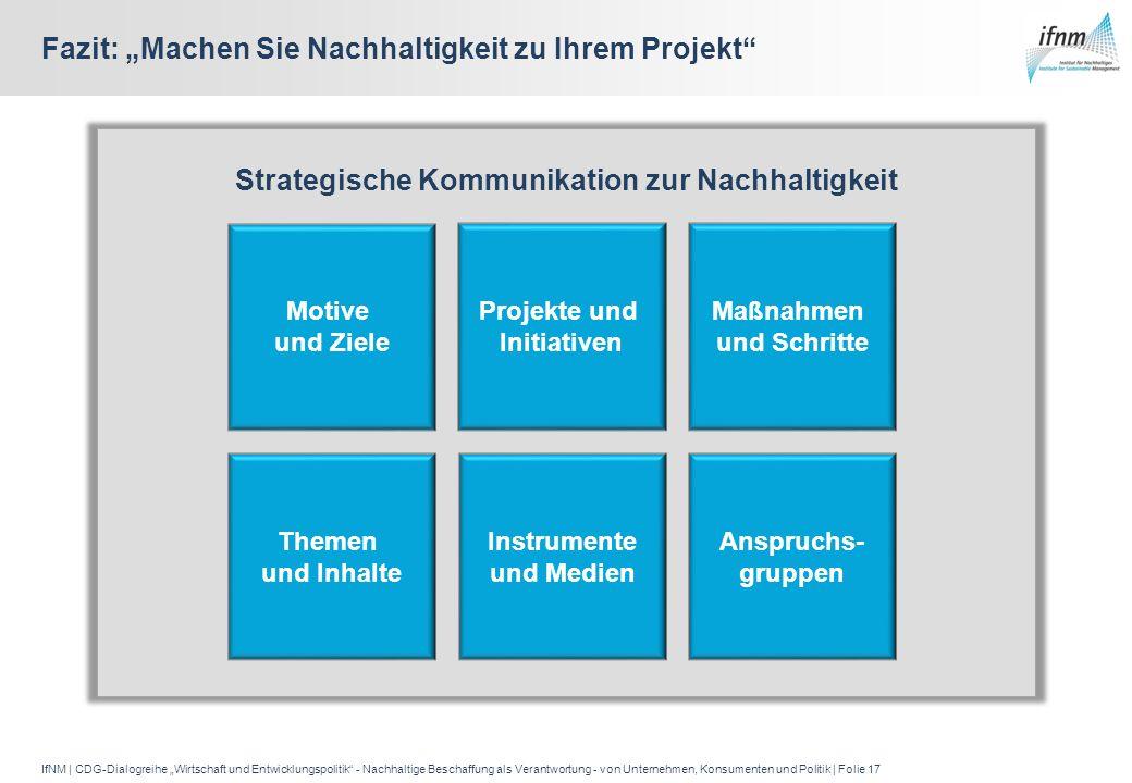 IfNM | CDG-Dialogreihe Wirtschaft und Entwicklungspolitik - Nachhaltige Beschaffung als Verantwortung - von Unternehmen, Konsumenten und Politik | Fol