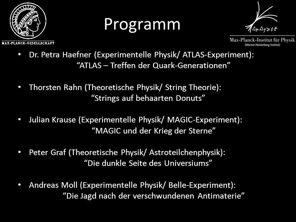 Programm Dr. Petra Haefner (Experimentelle Physik/ ATLAS-Experiment): ATLAS – Treffen der Quark-Generationen Thorsten Rahn (Theoretische Physik/ Strin
