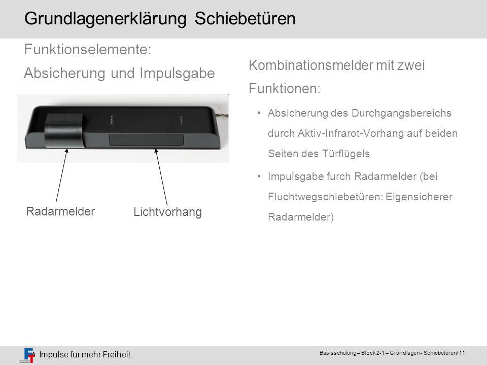 Impulse für mehr Freiheit. Basisschulung – Block 2-1 – Grundlagen - Schiebetüren/ 11 Kombinationsmelder mit zwei Funktionen: Absicherung des Durchgang