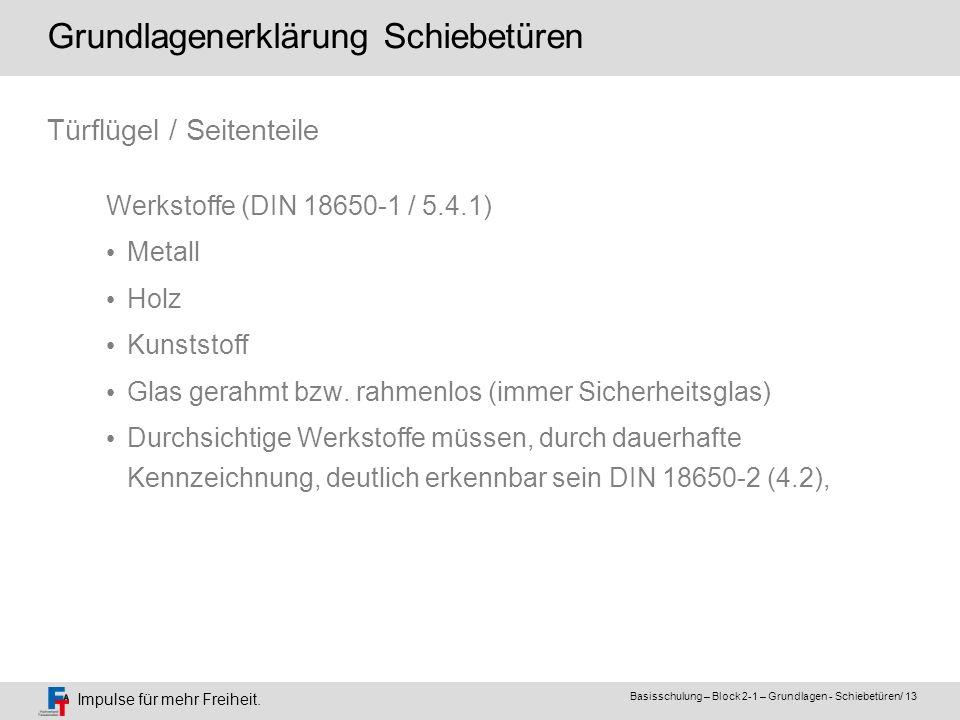 Impulse für mehr Freiheit. Basisschulung – Block 2-1 – Grundlagen - Schiebetüren/ 13 Werkstoffe (DIN 18650-1 / 5.4.1) Metall Holz Kunststoff Glas gera