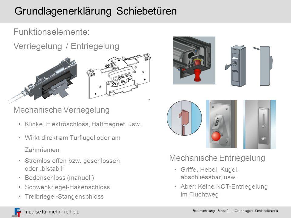 Impulse für mehr Freiheit. Basisschulung – Block 2-1 – Grundlagen - Schiebetüren/ 9 Mechanische Verriegelung Klinke, Elektroschloss, Haftmagnet, usw.