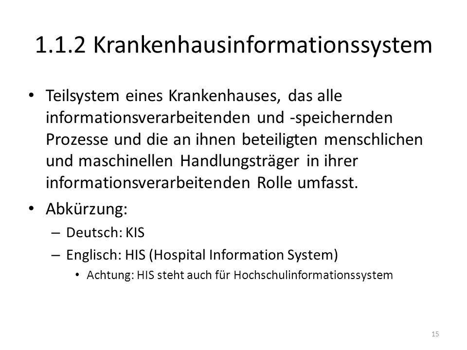 Teilsystem eines Krankenhauses, das alle informationsverarbeitenden und -speichernden Prozesse und die an ihnen beteiligten menschlichen und maschinellen Handlungsträger in ihrer informationsverarbeitenden Rolle umfasst.