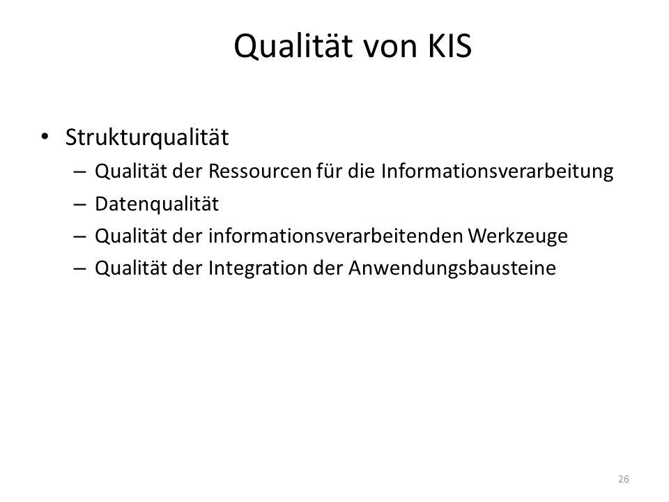 Qualität von KIS Strukturqualität – Qualität der Ressourcen für die Informationsverarbeitung – Datenqualität – Qualität der informationsverarbeitenden Werkzeuge – Qualität der Integration der Anwendungsbausteine 26