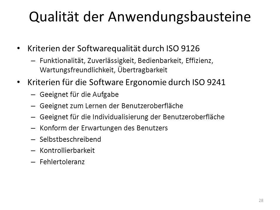 Kriterien der Softwarequalität durch ISO 9126 – Funktionalität, Zuverlässigkeit, Bedienbarkeit, Effizienz, Wartungsfreundlichkeit, Übertragbarkeit Kriterien für die Software Ergonomie durch ISO 9241 – Geeignet für die Aufgabe – Geeignet zum Lernen der Benutzeroberfläche – Geeignet für die Individualisierung der Benutzeroberfläche – Konform der Erwartungen des Benutzers – Selbstbeschreibend – Kontrollierbarkeit – Fehlertoleranz Qualität der Anwendungsbausteine 28