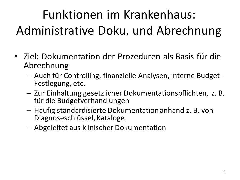 Funktionen im Krankenhaus: Administrative Doku.