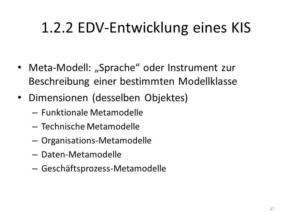 1.2.2 EDV-Entwicklung eines KIS Meta-Modell: Sprache oder Instrument zur Beschreibung einer bestimmten Modellklasse Dimensionen (desselben Objektes) – Funktionale Metamodelle – Technische Metamodelle – Organisations-Metamodelle – Daten-Metamodelle – Geschäftsprozess-Metamodelle 47