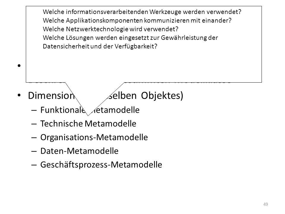 Entwicklung eines KIS Meta-Modell: Sprache oder Instrument zur Beschreibung einer bestimmten Modellklasse Dimensionen (desselben Objektes) – Funktionale Metamodelle – Technische Metamodelle – Organisations-Metamodelle – Daten-Metamodelle – Geschäftsprozess-Metamodelle Welche informationsverarbeitenden Werkzeuge werden verwendet.