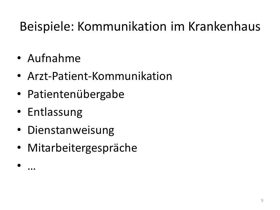 Beispiele: Kommunikation im Krankenhaus Aufnahme Arzt-Patient-Kommunikation Patientenübergabe Entlassung Dienstanweisung Mitarbeitergespräche … 9