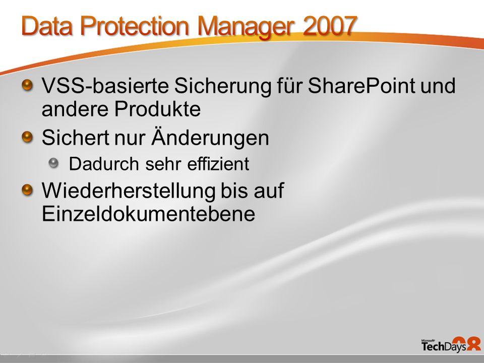 VSS-basierte Sicherung für SharePoint und andere Produkte Sichert nur Änderungen Dadurch sehr effizient Wiederherstellung bis auf Einzeldokumentebene