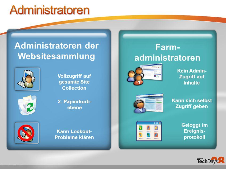 Kein Admin- Zugriff auf Inhalte Administratoren der Websitesammlung Vollzugriff auf gesamte Site Collection Farm- administratoren 2.